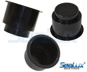 SeaLux Black Recessed Plastic Drink Cup Holder replace insert for Marine Boat Car Van no drain
