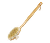 1PCS Wooden Made Bath Brush with Long Handle-Detachable Body Back Massage Tool Shower Scrubber