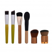 Owill 6PCS Wooden Handle Blending Pencil Foundation Eye Shadow Makeup Brushes Short Pattern Brush Set
