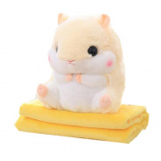 Kenmont 2 In 1 Cute Plush Hamster Stuffed Animal Toys Throw Pillow Blanket Set for baby kids