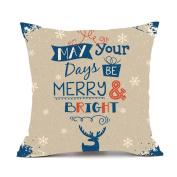 Inverlee Soft Christmas Cotton Linen Print Square Shaped Pillow Case Sofa Home Decor Cushion Covers 45x45cm