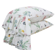 HOMIGOO Butterfly Pillowshams Shabby Vintage Floral Pillow Case Pillow Cover/Sham King-2PC-13