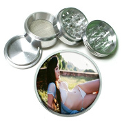 """Japanese Pin Up Girl Japan S12 Chrome Silver 2.5"""" Aluminium Magnetic Metal Herb Grinder 4 Piece Hand Muller Herb & Spice Heavy Duty 63mm"""