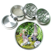 """Gnomes Garden Decor S5 Chrome Silver 2.5"""" Aluminium Magnetic Metal Herb Grinder 4 Piece Hand Muller Herb & Spice Heavy Duty 63mm"""