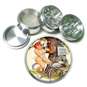 """German Pin Up Girls Germany S2 Chrome Silver 2.5"""" Aluminium Magnetic Metal Herb Grinder 4 Piece Hand Muller Herb & Spice Heavy Duty 63mm"""