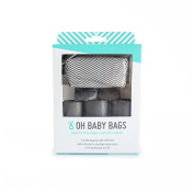 Oh Baby Bags Nappy Bag Clip-On Dispenser Gift Box with Disposable Bags for Dirty Nappies - Recycled Plastic - Grey and White Striped Duffle plus 48 Grey Unscented Bags