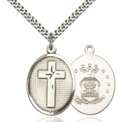 Sterling Silver Cross / Air Force Pendant 2.5cm x 1.9cm with Heavy Curb Chain