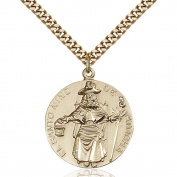 Gold Filled St. Ni.o de Atocha Pendant 2.5cm x 2.2cm with Heavy Curb Chain