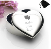 Silver Plated Heart Shaped Trinket Box With Mother of the Bride Hearts Design and Black Gift Pouch