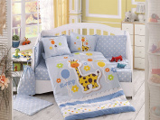 Puffy - Baby Deluxe Duvet Cover Set - 100% Cotton - 4 pieces (Blue) - Made in Turkey
