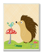The Kids Room by Stupell Hedgehog with Bird on a Mushroom Rectangle Wall Plaque
