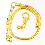 RUBYCA 10pcs Gold Colour Heart Lobster European Style Snake Chain Bracelets fit Charm Beads 21cm