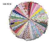 levylisa 100 Pieces 15cm x 15cm 100% Cotton Printed Fabric Patchwork Print Cloth Fat Quarter Bundle Fabric Tissue for DIY Craft Embellishments Sewing Scrapbooking Quilting