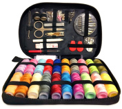 """Deluxe Sewing Kit – Set Includes 97 Accessories & 24 Colour Assorted Thread Spools – Compact & Lightweight - Dimensions 7.87"""" x 5.70"""" x 1.37"""" – Ideal For Mending, Repairing & DIY Crafting"""