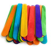 Kelkaa 15cm Coloured Jumbo Wood Craft Sticks with Assorted Bright Hues Coloured Popsicle Sticks