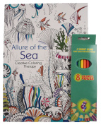Allure Of The Sea Adult and Teen Colouring Book Bundled With Vibrant Coloured Pencils