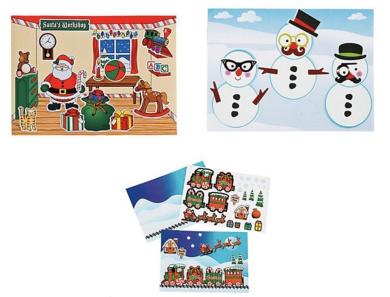 Holiday Sticker Scene Set - Santa's Workshop, Make a Snowman and Christmas Train
