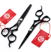 Purple Dragon 15cm Barber 440C Hair Cutting Scissors and Thinning Shears with Bag - Perfect for Professional Hairdresser or Family Use