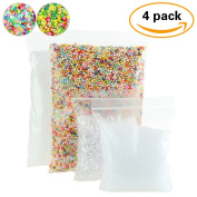 4 Pack Slime Beads Supplies - Fishbowl Beads Fish Bowl Vase Filler 100ml - Clear Slushie Beads 100ml - Colourful Styrofoam Foam Balls Mini 0.3cm - 0.5cm (10000pcs) Bonus Fruit Splice, Glitter Sequins