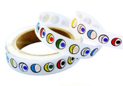 1 Roll of 1000 Pcs Back Glue Eye Stickers - Total Lenght 18m DIY black and white colour eye stickers activities creative