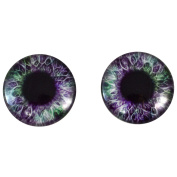 40mm Pair of Big Purple and Green Glass Eyes, for Jewellery Making, Arts Dolls, Sculptures, and More