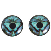 40mm Pair of Big Blue Butterfly Glass Eyes, for Jewellery Making, Arts Dolls, Sculptures, and More