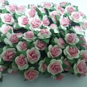 100 White & Pink Mulberry Paper Rose Flower handmade size 1 cm. Wedding Card Craft Scrapbook Rose Scrapbook Craft Wedding NO 166