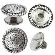 "10 Pack 1/2"" Antiqued Silver Engraved Concho With 9.15mm Chicago Screw"