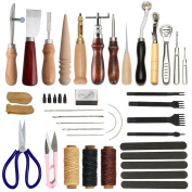 Leather Stitching Tools SIMPZIA 30 Pieces Leather Craft Hand Sewing Tools Kit with Prong Punch Edger Creaser Groover Awl for Sewing Leather, Canvas, DIY Leathercarft Projects