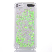 iPod Touch 5 case,iPod Touch 6 Case,ARSUE Cool Moving Bling Glitter Sparkle Design Printed Liquid Quicksand Transparent Hard Case for Apple iPod touch 5 6th Generation