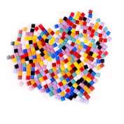 Eowpower 320 Gramme/ 380 Pieces Assorted Colours Mosaic Tiles Stained Glass for Home Decoration Crafts Supply, 1x1cm