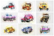 Watercolour Cars #102 Collage Sheet for Arts, Crafts, Decoupage or Scrapbooking
