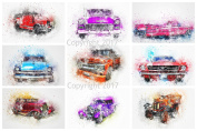 Watercolour Cars #101 Collage Sheet for Arts, Crafts, Decoupage or Scrapbooking