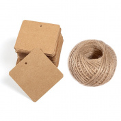 Paper Tags 200 PCS Square Kraft Gift Tags Blank Label with Jute Twine for Handmade Party Favours as Thank You Card Vintage Brown Price Tags