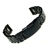Stainless Steel Bracelet Watch Band Strap Straight End Solid Links, Ninasill Exclusive 18/20/22 MM Black Watch Strap