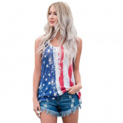 Hot ! New Fashion Women American Flag Printed Tank Tops, Ninasill Exclusive Broadcloth Casual Blouse T Shirt Vest