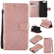 Oneplus 5 Wallet Case,A- slim(TM) Sun Pattern Embossed PU Leather Magnetic Flip Cover Card Holders & Hand Strap Wallet Purse Case for Oneplus 5 - Rose Gold