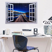 3D Window Star View Wall Mural Removable Sticker Art Decal Room Background Decor