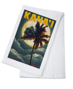 Kaua'i, Hawaii - Palm and Moon - Lantern Press Artwork