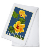 Kauai, Hawaii - Yellow Hibiscus - Letterpress - Lantern Press Artwork