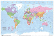 World Map Political Classroom Educational Learning Reference Geography History Poster - 18x12