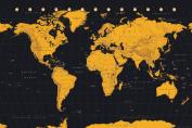 World Map Gold Art Print Poster 36x24