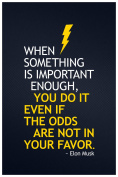 Elon Musk When Something Important You Do It Motivational Quote Poster 12x18