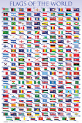 Flags of the World Classroom Educational Chart Nations National Countries Symbol Poster - 12x18