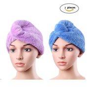 Hair Turban Towel Twist Wrap Fast Drying Absorbent Microfiber Dry Hair Cap for Bath Shower, Spa 2 Pack