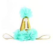 OULII Flower Party Hat Crown 1st Baby Birthday Princess Hairband Hair Accessories