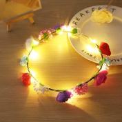 Xnferty Rose Flower Wreath Headband Crown Floral Fashion Headbands for Festival Wedding Tourist