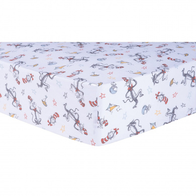 Trend Lab Dr. Seuss Classic Cat in the Hat Fitted Crib Sheet, Multi