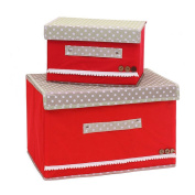 Chen Set of 2 Foldable Fabric Storage Box with Lid Basket Bin Container