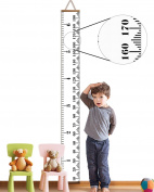 AOMINGGE Hanging Growth Chart, Height Measure Ruler Roll Up Wooden Canvas Growth Ruler for Kids Baby Birthday Gift